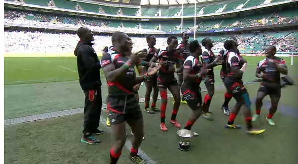 Kenya 7s dancing after bowl victory