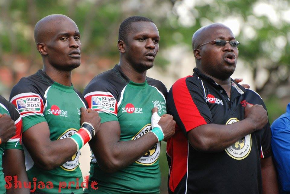 Photo : Kenya simab xvs singing the national anthem before Kenya versus portugal kick off.