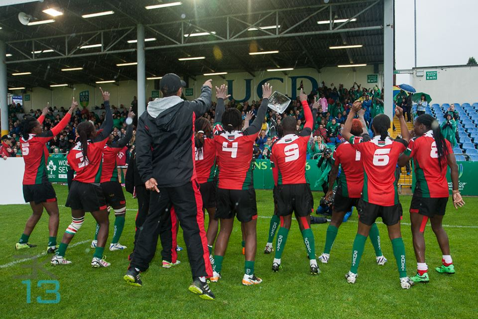 Consulting Coach Aschin Klein celebrating with the Kenya lionesses