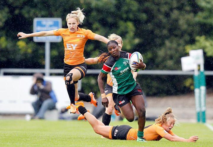 Janet Okello leaves Dutch opponents for dead.