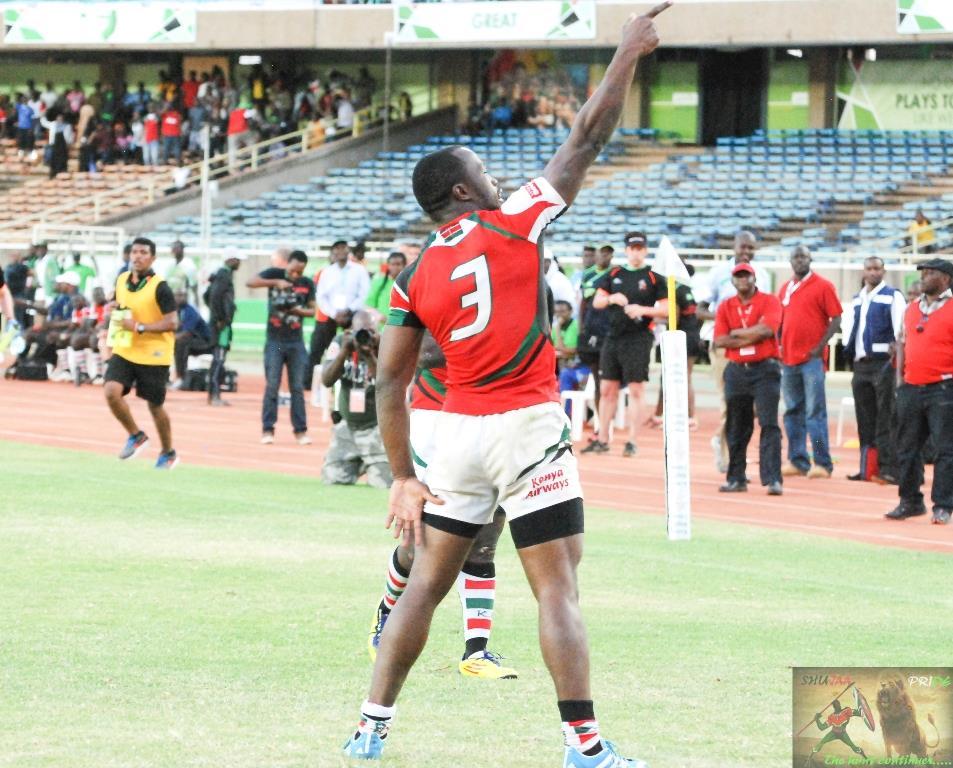 Frank Wanyama celebrating after scoring a try for Shujaa against Samurai in safari 7s final