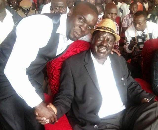 Photo : Leon Lidigu with Hon Raila Amolo Odinga.