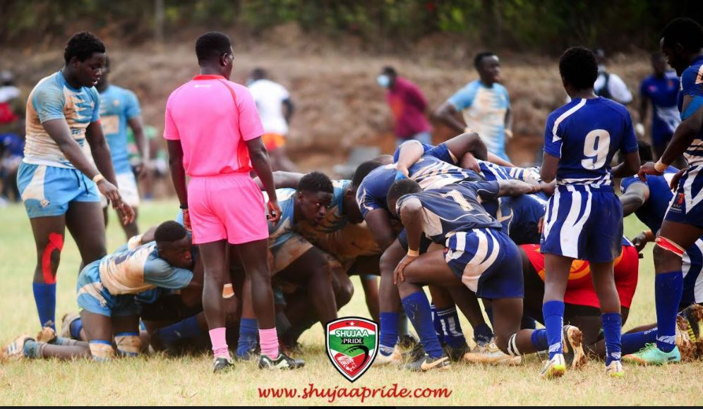 A scrum situation involving Northern Suburbs and Strathmore Leos (right) at Madaraka grounds on February 13