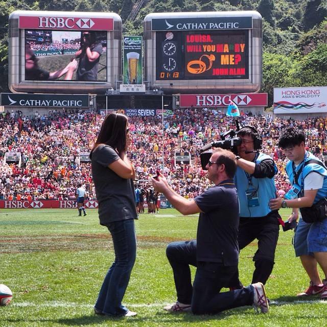 John Alan proposes to Louisa at Hong Kong sevens