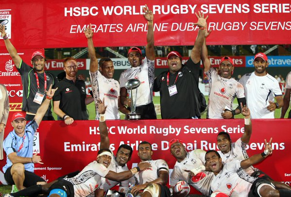 Fiji came from 7-0 down to lift Dubai 7s