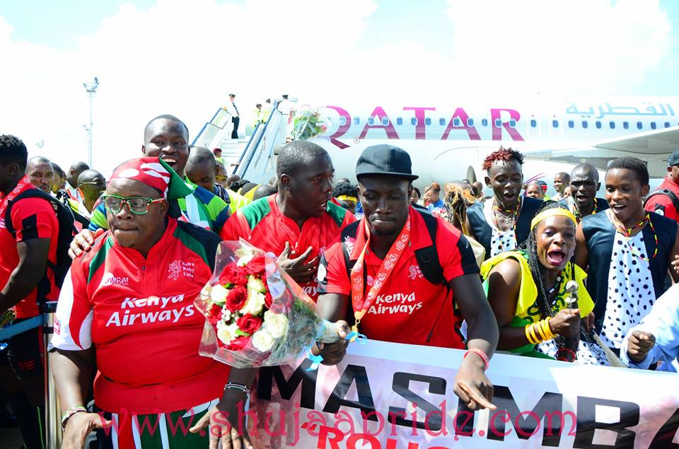 Kenya sevens warm reception at JKIA after winning Singapore 7s 2016