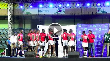 Kenya Shujaa dancing after winning Safari sevens