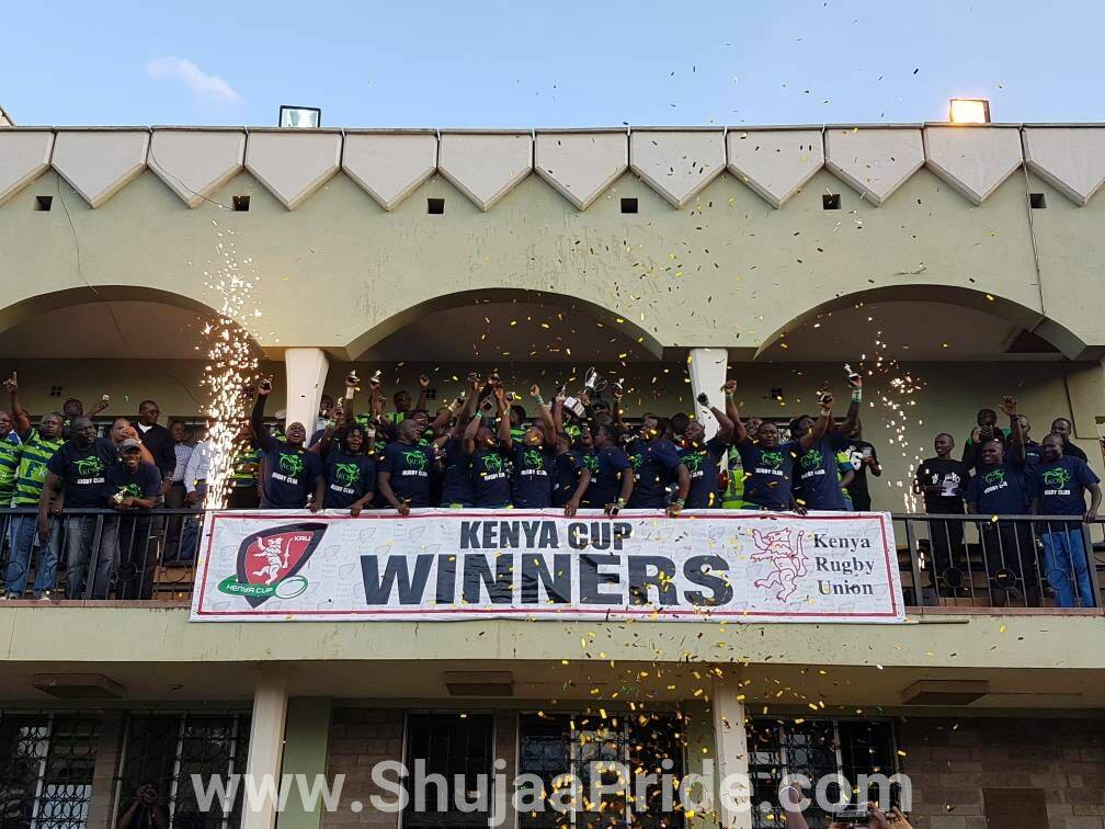 KCB players celebrating after winning the Kenya Cup