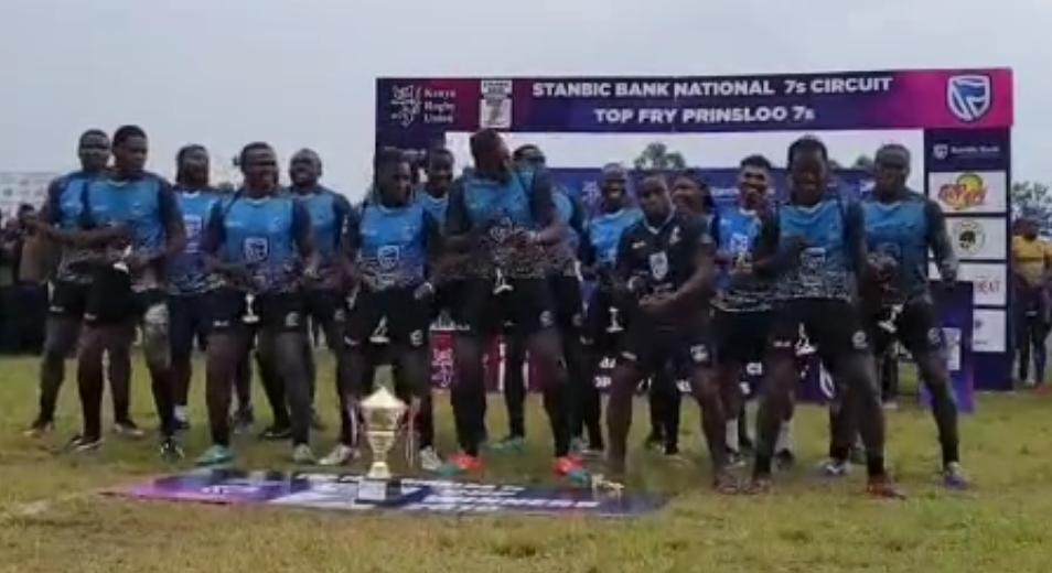 Mwamba victory dance after winning Prinsloo 7s
